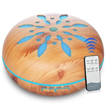 Sand Dollar Light Wood Ultrasonic Humidifier and Diffuser for Essential Oil Aromatherapy - 7 color LED with 550 ml capacity, Auto Shut Off with Remote