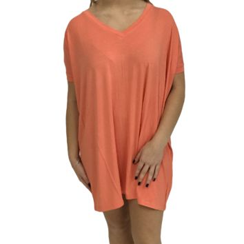 Dark Peach Piko Tunic V-Neck Short Sleeve Top