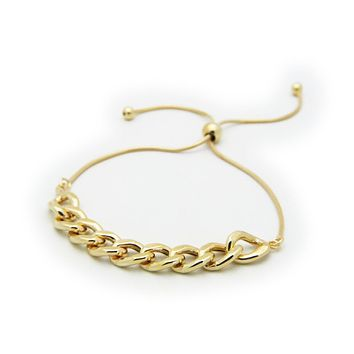 Gold Plated Sterling Silver Rounded Cuban Link Chain Bracelet, Adjustable