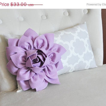 MOTHERS DAY SALE Lilac Dahlia on Neutral Gray Tarika Print Lumbar Pillow 9 x 16