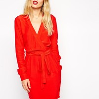 ASOS | ASOS Wrap Dress With Tulip Skirt With Long Sleeves at ASOS
