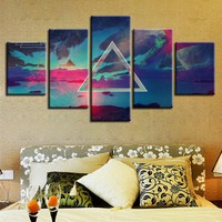 Pink Floyd Rock Music Color Wall Print Modular Wall Art 5 Panel Pieces Picture