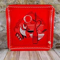 Mid-Century Marcelline Stoyke Red Metal BBQTray, Retro Tray, Kitsch -  5 Available