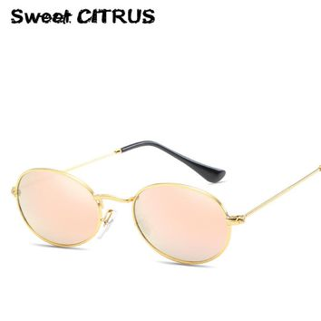 Sweet CITRUS Classic Oval Small Sunglasses Women Men Brand Designer Round Sun Glasses Female Reflective Coating Mirror shades