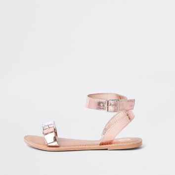 Rose gold faux leather gem buckle sandals - Sandals - Shoes & Boots - women