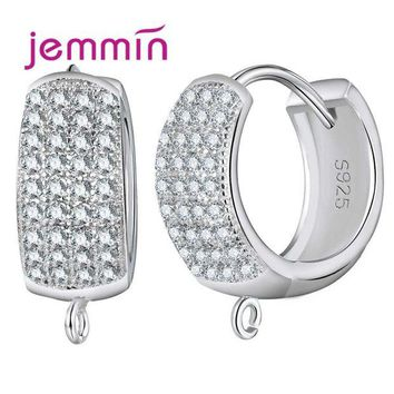 LMFIJ5 Jemmin Big Promotion 10PCS Sparkly Wide Hoop Earrings for Women 925 Sterling Silver Crystal Jewelry Accessories White Bijoux