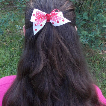 Girls Hair Bow, Red and White polka Dot, double bow, knot center