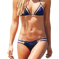 Navy Strappy Triangle Bikini Set With Mesh Details