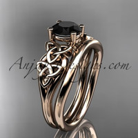 14kt rose gold celtic trinity knot wedding ring, engagement set with a Black Diamond center stone CT7169S