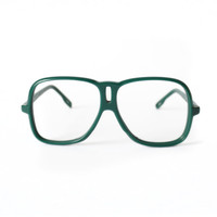 Green Aviator Vintage Eyeglasses - small Silhouette 80's frame - NOS glasses