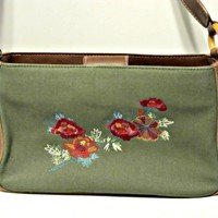 Relic Green Canvas Bag with Floral Embroidery