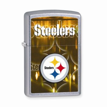 Zippo Pittsburgh Steelers High Polish Chrome Lighter - Engravable Gift Item