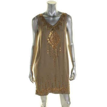 Twelfth St By Cynthia Vincent Womens Embellished Shift Tank Dress