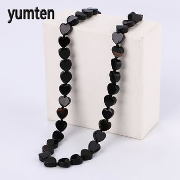Yumten Black Agate Necklace Power Reiki Heart Natural Crystal Jewelry Necklaces Zelda Vintage Rhinestone Choker Bijoux
