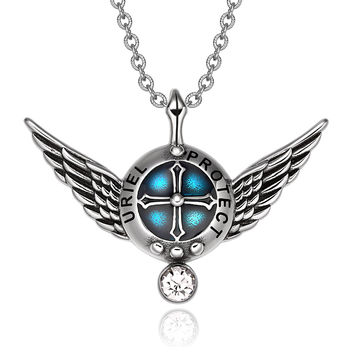 Archangel Uriel Angel Wings Protection Shield Magic Powers Charm White Crystal Pendant 22 inch Necklace