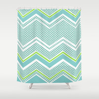 Ric-Rac-Dotty Blue And Lime Shower Curtain by ALLY COXON | Society6