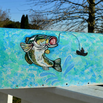 Custom order - Hand Painted Fish Mailbox with Large Mouth Bass, Fisherman and Lure