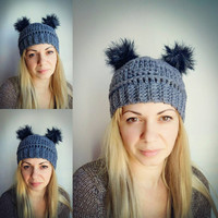 Charcoal Grey Hat with 2 Pompoms Grey Girl Hat Crochet Pompom Hat Animal Playful Hat Gray Knit Har Girls Hat Womens Accessories Winter Hat