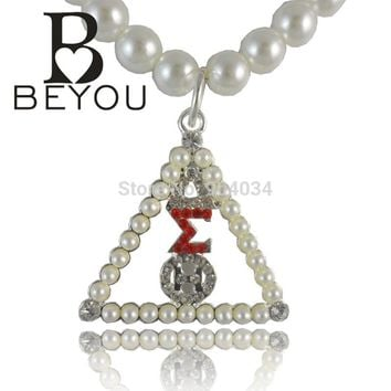 Delta Sigma Theta Crystal Pearl Necklace