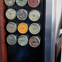 Magnetic spice rack - spice tins for kitchen organization - set of 12 tins includes custom spice labels, software, gift box