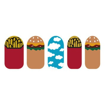 Fries and Hamburger Sky Nail Art