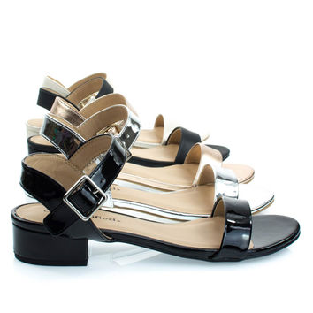 Refine Black Patent By City Classified, Low Chunky Block Heel Sandal, Women's Open Toe Summer Shoes