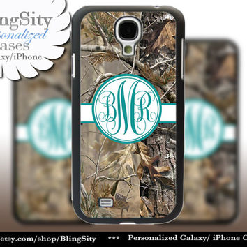 Camo Turquoise Monogram Galaxy S4 case S5 RealTree Tree Camo Personalized Samsung Galaxy S3 Case Note 2 3 Cover Country Girl
