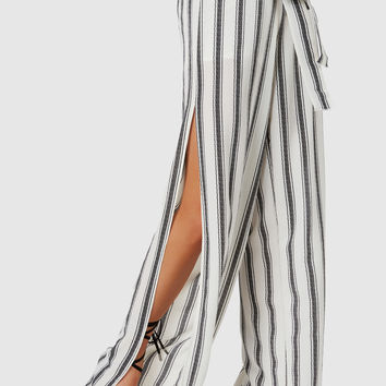 At First Stripe Slit Pants