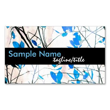 nature art business card template blue and white