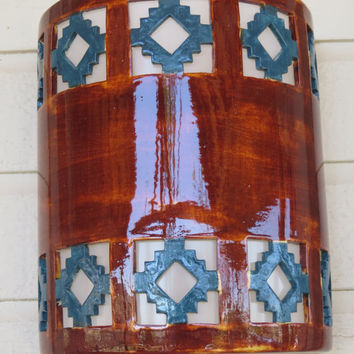Contemporary Rusty Glazed Turquoise Cortez Cutout Wall Sconce