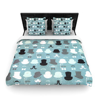 "Heidi Jennings ""Hats Off To You"" Blue Gray Woven Duvet Cover"
