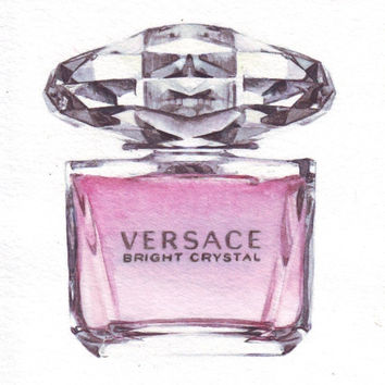 HM077 Original watercolor painting illustration Versace Bright Crystal Perfume Bottle by Helga McLeod