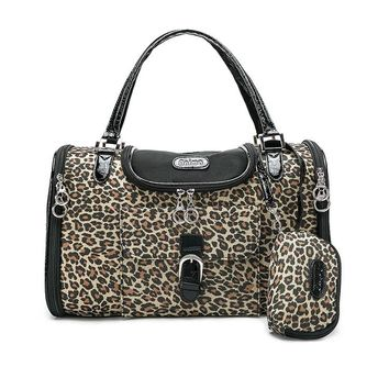 Luxury Leopard Pet Travel Carrier PU Leather Carrying Tote Bag With Purse - FL Adorepet Brand