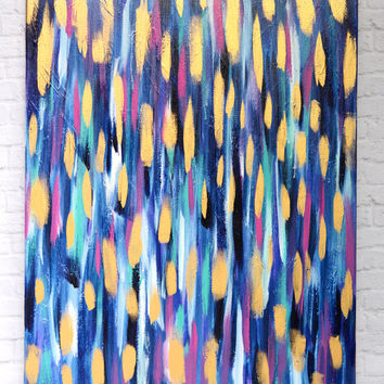New Orleans  - 24x30 gold, blue and fuchsia purple abstract canvas painting - gold art, bright abstract, bold painting, original painting