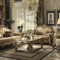 Acme 53000 2 pc vendome collection gold patina finish wood and bone faux leather upholstery sofa and love seat set