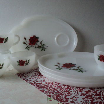 Milk Glass Rosecrest Luncheon Set 1950s Federal Glass Snack Set for 4 Vintage Cups Plates Red Rose Design on White Milk Glass Tea Party Set
