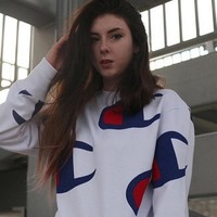 Champion Hot Sale Women Big Logo Print Long Sleeve Top Sweater