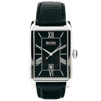 Hugo Boss 1512968 Men's Black Dial Black Leather Strap Quartz Watch