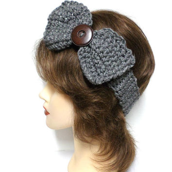 Women's grey crochet large bow large brown button accent headband, ear warmer, grey crochet bow button headband, gift