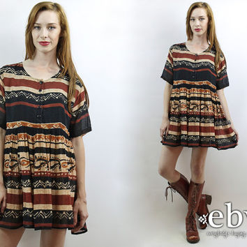 Indian Dress Boho Dress Festival Dress Hippie Dress Hippy Dress Tribal Dress India Dress Vintage 90s Ethnic Print Babydoll Dress S M L