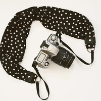Scarf Camera Strap - Black with Vanilla Polka Dots - dSLR Camera Strap