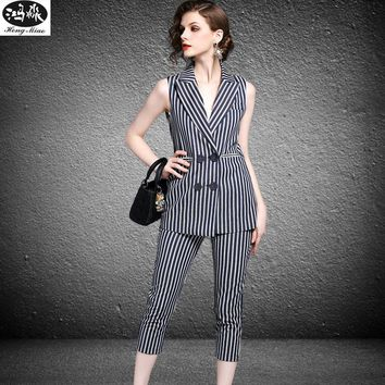 2017 Summer New Women Slim Suits Office Lady Sleeveless Vest Calf-length Pants Two Pieces Sets Women Striped Fashion Casual Suit