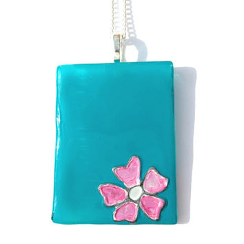 Glass Pendant in Turquoise with a Pink Flower - Silver Plated Chain & Bail, Glass Necklace