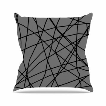 "Trebam ""Paucina v2"" Gray Black Outdoor Throw Pillow"
