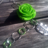 Lime Green Flower Necklace by By5Jewelry on Etsy
