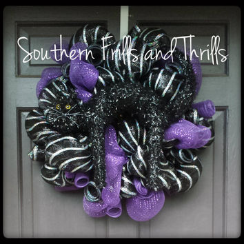 Black Cat Deco Mesh Halloween Wreath