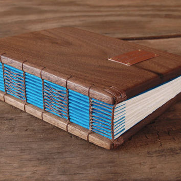Personalized wood guest book with black walnut cover