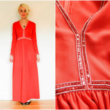 70s vintage maxi dress / sequin empire waist / long sleeve boho bohemian / leg slit floor length / red dress disco 1970s size small s