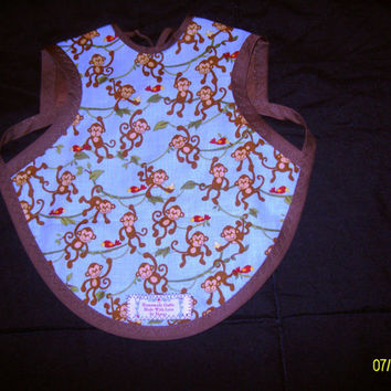 Reversible Bapron - (Baby Apron) made of cotton fabrics in animal prints