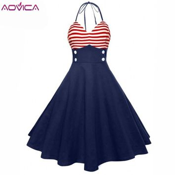 Aovica Vintage 50s Red Striped Elegant Dress Button Sleeveless Party Dresses A Line Rockabilly Retro Robe Pin Up New